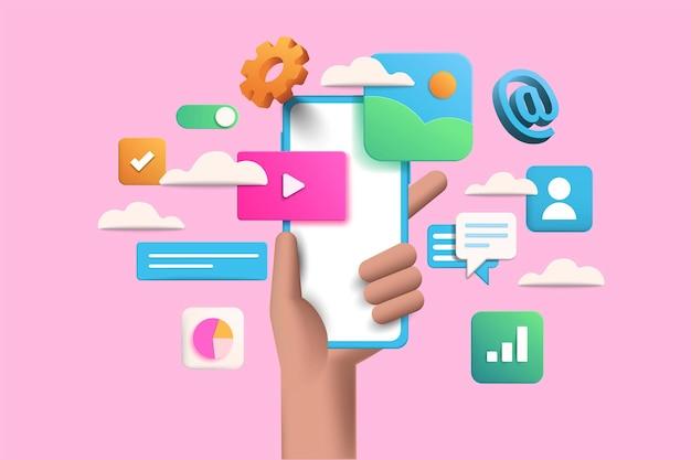 Handhold phone illustration on pink background