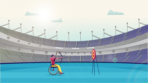 Handicap man taking aim from bow arrow in dartboard on stadium
