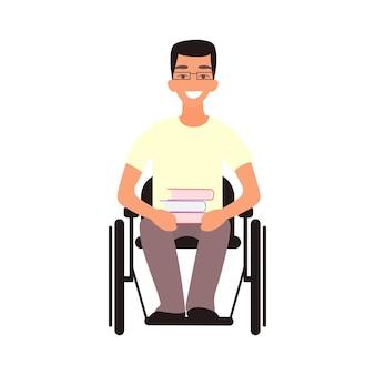 핸디캡 학생은 휠체어에 앉아 장애 청소년 장애를 가진 사람 프리미엄 벡터