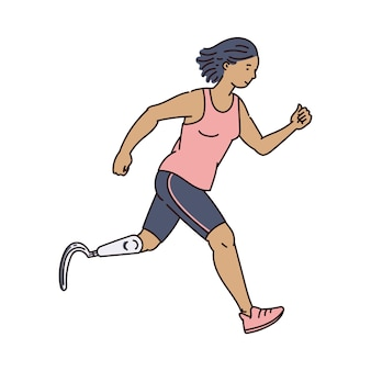 Handicapped female runner in athletic clothes running forward - cartoon woman with prosthetic leg doing sport exercise.    illustration.