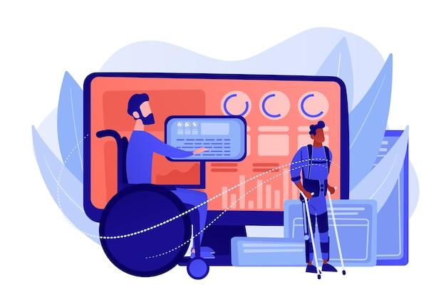 Человек с ограниченными возможностями в инвалидной коляске. реабилитация травмированного персонажа. вспомогательные технологии, устройства для людей с ограниченными возможностями, концепция принятых технологий. розовый коралловый синий вектор изолированных иллюстрация