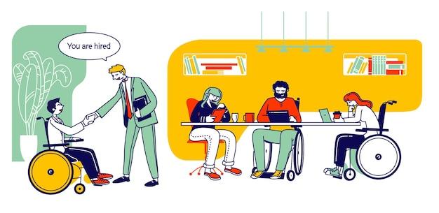 사무실에서 일하는 장애인. 직장에서 동료와 악수하는 장애인 된 남자. 만화 평면 그림