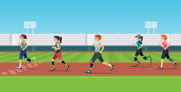 A handicapped runner is running a race in the stadium Premium Vector