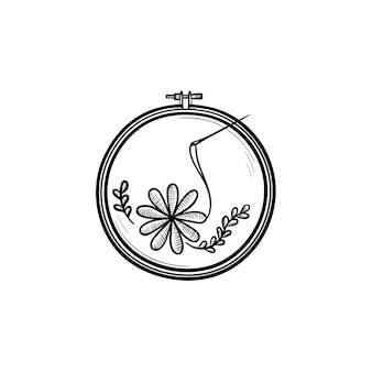 수공예품 손으로 그린 개요 낙서 아이콘입니다. 흰색 배경에 고립 된 인쇄, 웹, 모바일 및 infographics에 대 한 자 수 벡터 스케치 그림에 대 한 실과 바늘.