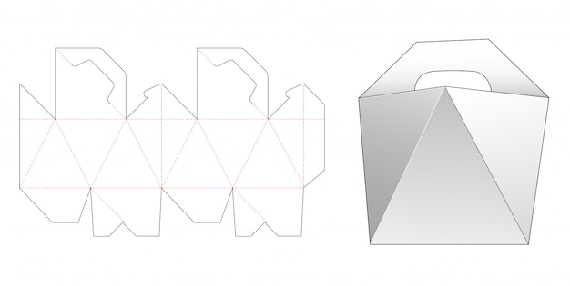 Handle angled side box die cut template design