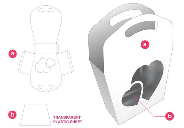 透明なプラスチックシートダイカットテンプレート付きハンドルバッグとハートウィンドウ