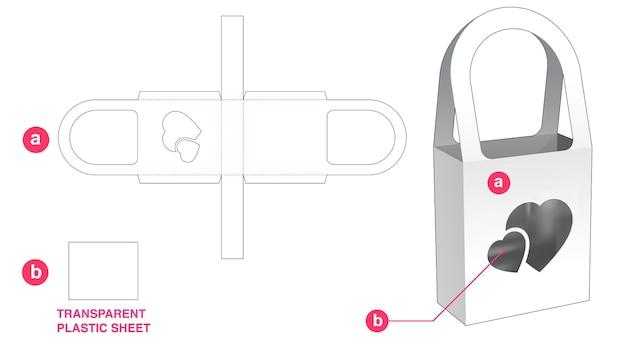 透明なプラスチックシートダイカットテンプレートでバッグボックスとハートウィンドウを処理します