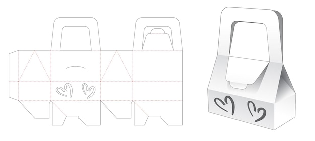 Handle bag box with 2 hearts shaped window die cut template