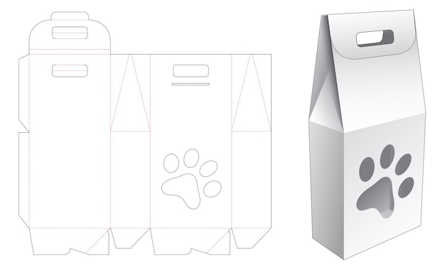 Handle bag box with dog foot print shaped window die cut template
