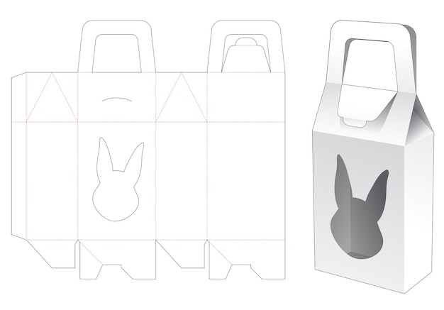 Handle bag box with rabbit shaped window die cut template
