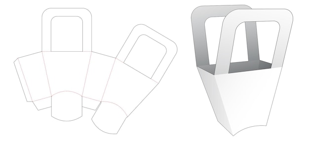Handle bag with curved bottom die cut template