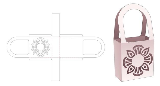 Handle bag with mandala stencil die cut template