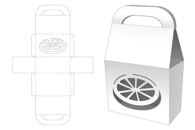 Handle bag with orange shaped window die cut template