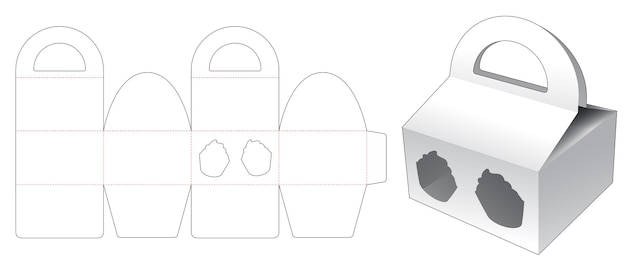 Handle box with cup cake shaped window die cut template
