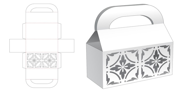 Handle box with luxury stencil on top die cut template