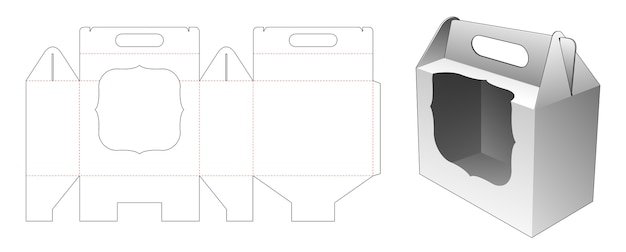 Handle carton with window die cut template