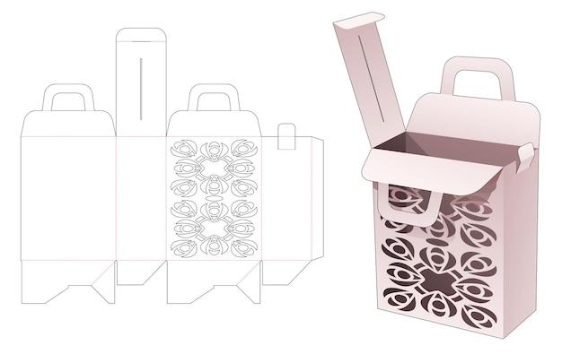 Handle and flip box with mandala stencil die cut template