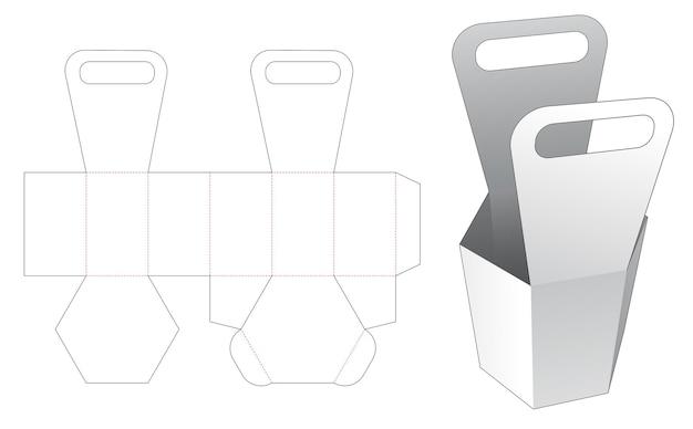 Handle hexagonal bag box die cut template