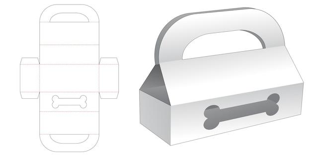 Handle long box with dog bone window die cut template