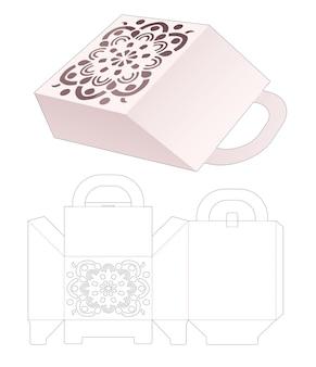 Handle packaging bag with mandala stencil die cut template