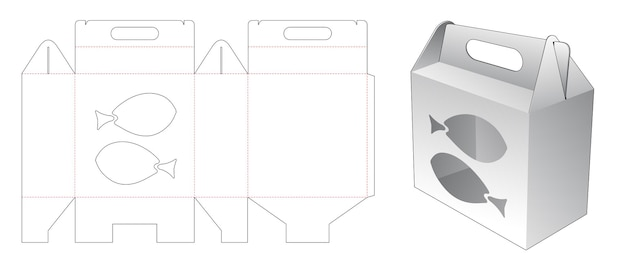 Handle packaging box with fishes shaped window die cut template