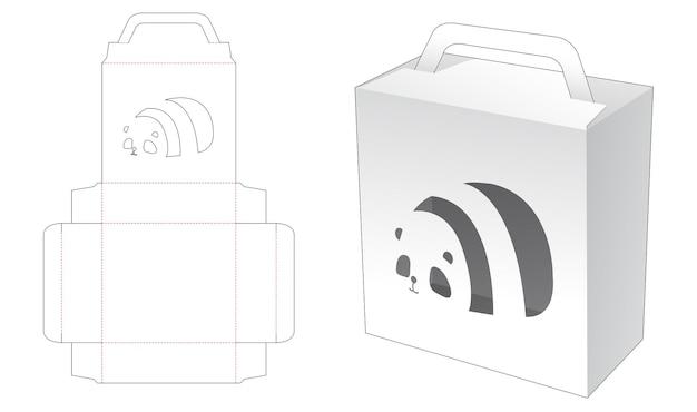 Handle packaging box with panda cartoon shaped window die cut template