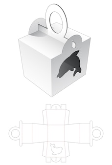 Handle packaging with dolphin cartoon shaped window die cut template