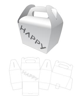 Handle packaging with happy word window die cut template