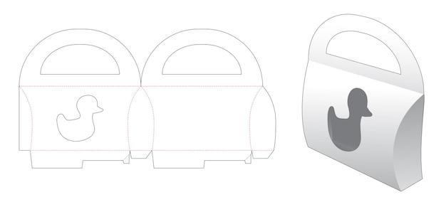 Handle pillow packaging with duck cartoon window die cut template