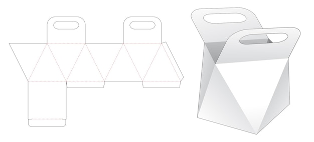 Handle prism bag die cut template