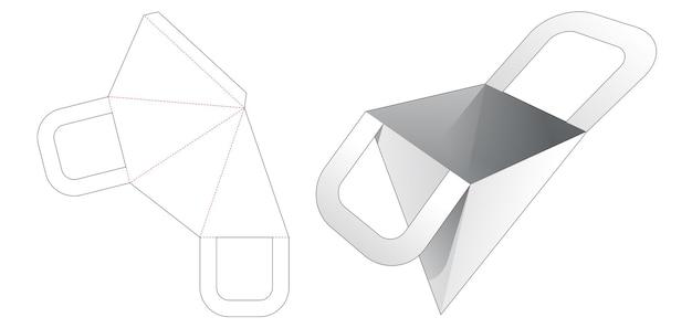 Handle pyramid bag die cut template