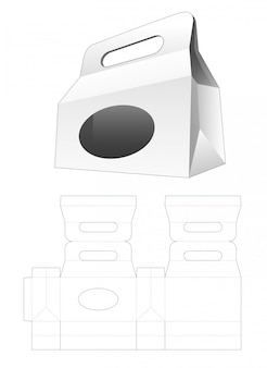 Handle shopping bag with ellipse window die cut template