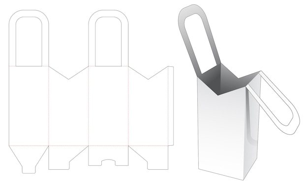 Handle tall bag die cut template