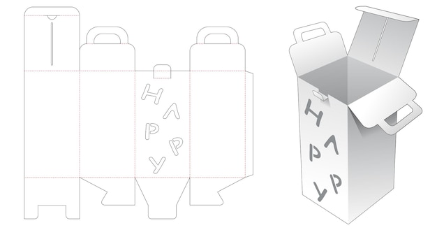 Handle tall packaging with happy word stencil die cut template