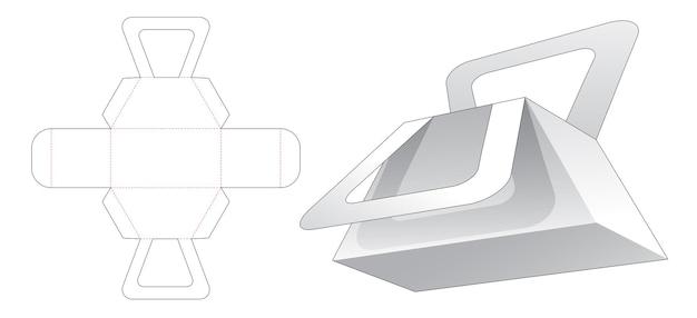 Handle trapezoid bag die cut template