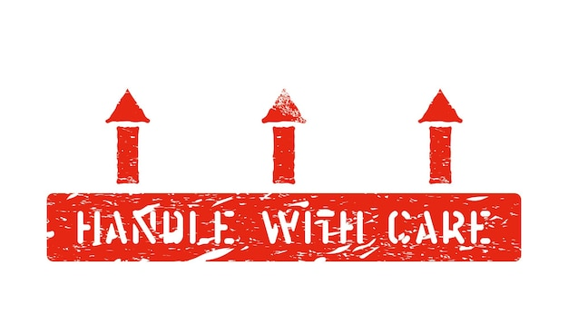 Handle with care and arrows up vector scratched pictogram isolated. this way up grunge box sign on white background