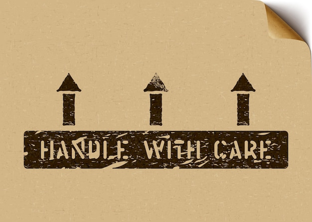 Handle with care grunge pictogram with arrows on craft paper. means fragile, this way up. vector box sign on a craft paper