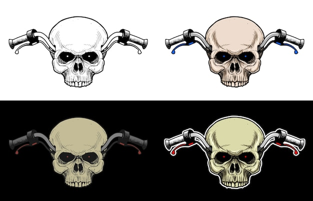 Handlebar motorcycle with skull head without lower jaw, drawing skull with 4 style color