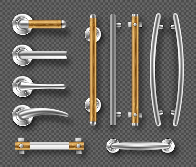 Maniglie per porte o finestre in metallo, dettagli in legno
