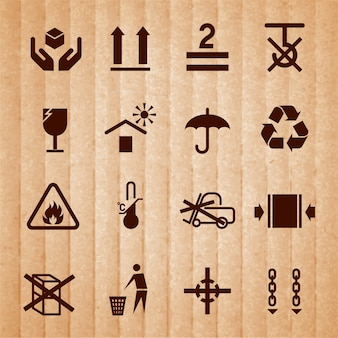 Handling and packing icons set with temperature limitation flammable no stack symbols isolated