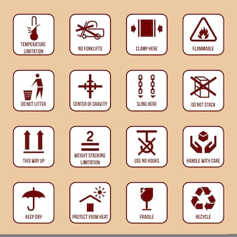 Handling and packing icons set with temperature limitation flammable no stack symbols vector illustration
