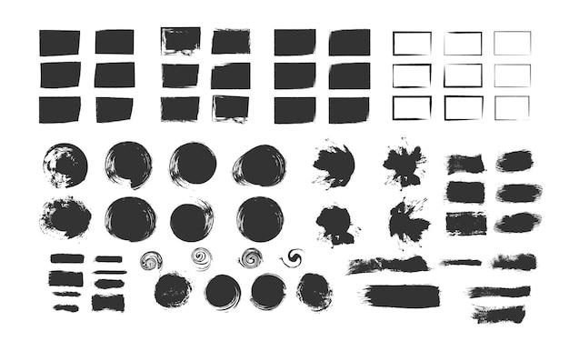 Кисти ручной работы шаблон оформления кисти брызги векторные иллюстрации