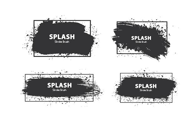 Handmade brushes design template brush splatter vector illustration
