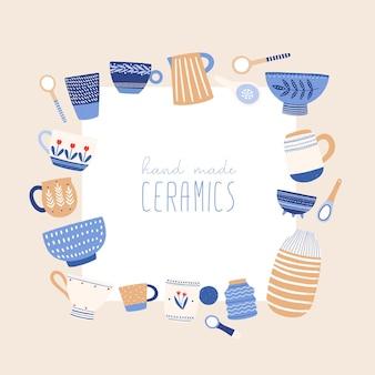 Handmade ceramics frame. handicraft pottery. beautiful decorative crockery in cartoon style