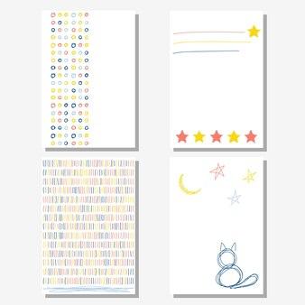 손으로 만든 유치한 카드 배경 손으로 쓴 글자와 낙서 모양