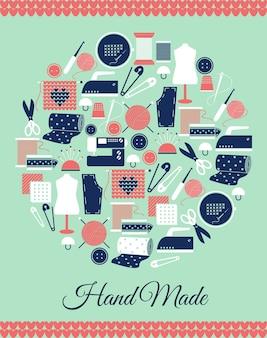 手作りの円形のシンボル。縫製、編み物、型紙のサイン。