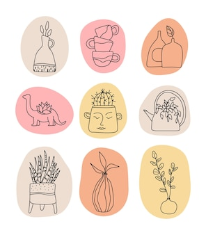 Handmade clay pottery logos collection artisan creative craft sign in line style handmade ceramics