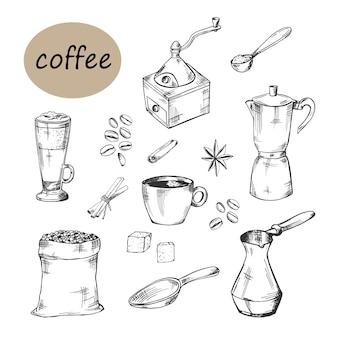 Handmade coffee set vector sketch