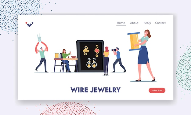 Handmade craft, diy landing page template. tiny female characters jewelry designers create bijouterie and necklaces, earrings, bracelets using wire, colorful beads. cartoon people vector illustration
