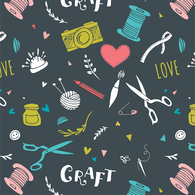 Handmade, crafts patterns and vector hand drawn